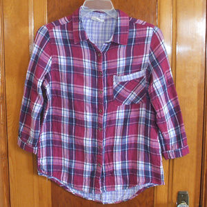 3/4 Sleeve Magenta/Navy Flannel Shirt